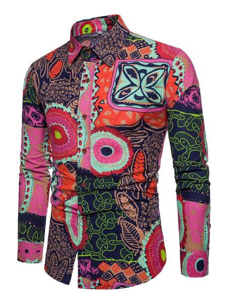 Milanoo Camisa de hombre Hawaii Camisa de algodon con estampado etnico Camisa de manga larga marron oscuro