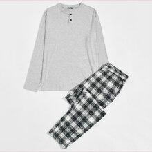 Guys Button Front Tee & Plaid Pants PJ Set