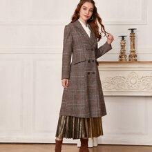 Mantel mit Karo Muster und Reverskragen