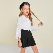Girls Ruched Sleeve Drawstring Waist Crop Top