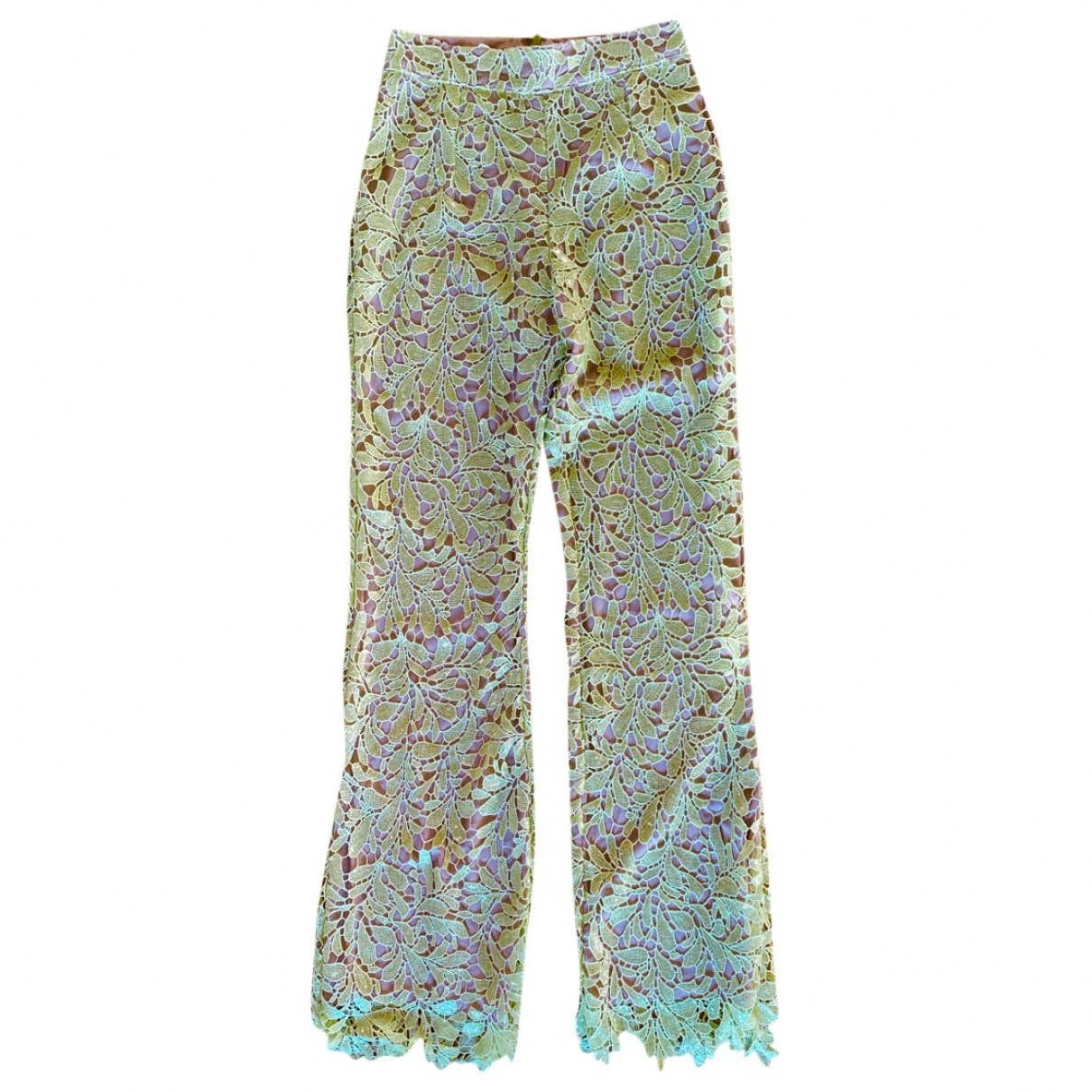 Non Signé / Unsigned \N Yellow Trousers for Women 8 UK
