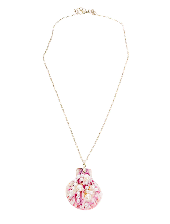 Kostuemzubehor Halskette Muschel mit Perlen Farbe: rosa/weiss