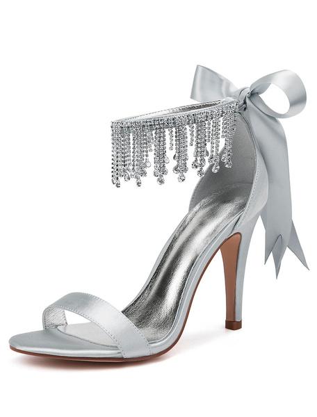 Milanoo Red Wedding Shoes Satin Open Toe Rhinestones Bow High Heel Bridal Shoes