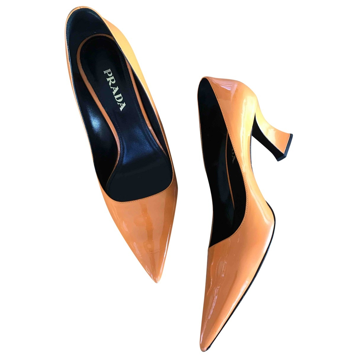 Prada - Escarpins   pour femme en cuir verni - orange