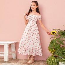 Girls Off Shoulder Frill Trim Shirred Bodice Floral Swiss Dot Dress