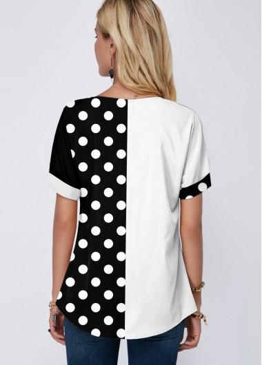 Split Neck Polka Dot Color Block Blouse - L