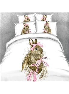 Cute Rabbit with a Pink Bow Print 5-Piece Comforter Sets