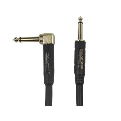 1/4-inch TS Guitar/Instrument Cloth Cable with One Right Angle Connector, 10ft Blue- Monoprice®