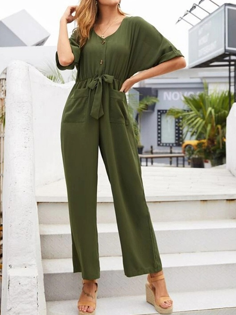 Ericdress Plain Lace-Up Casual Straight Slim Jumpsuit