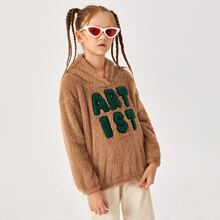 Girls Letter Graphic Teddy Hoodie