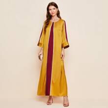 Vestido de saten de manga campana de dos colores