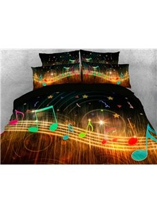 Music Notes 3D Warm Comforter Soft Lightweight 5-Piece Comforter Sets