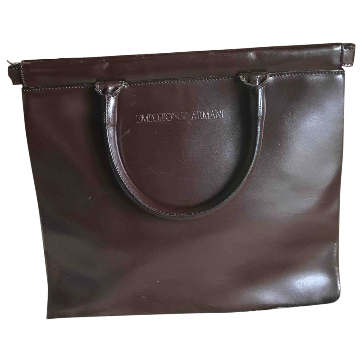 Emporio Armani - Sac a main   pour femme en cuir - marron