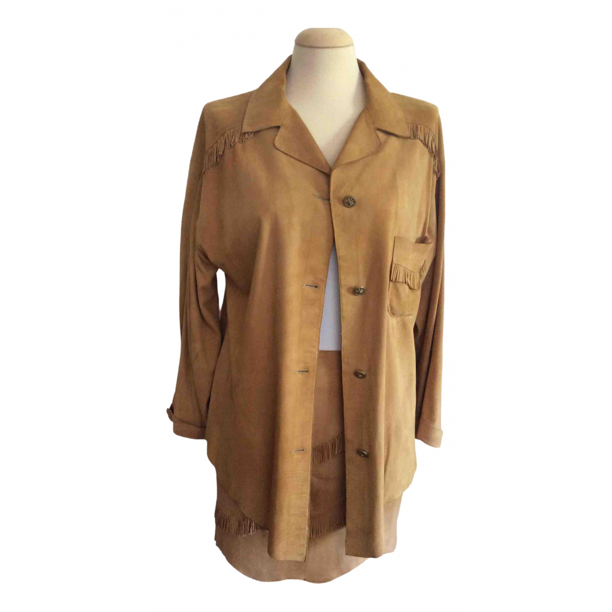 Non Signé / Unsigned \N Camel Suede Leather jacket for Women 42 IT