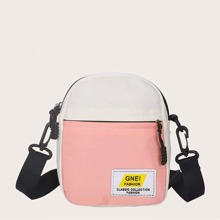 Letter Patch Colorblock Crossbody Bag