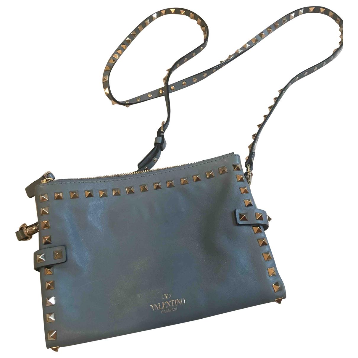 Valentino Garavani Rockstud Handtasche in  Blau Leder