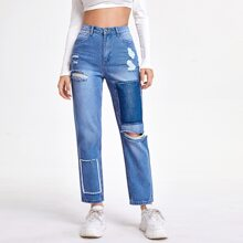 Knopfe  Einfarbig Laessig Jeans