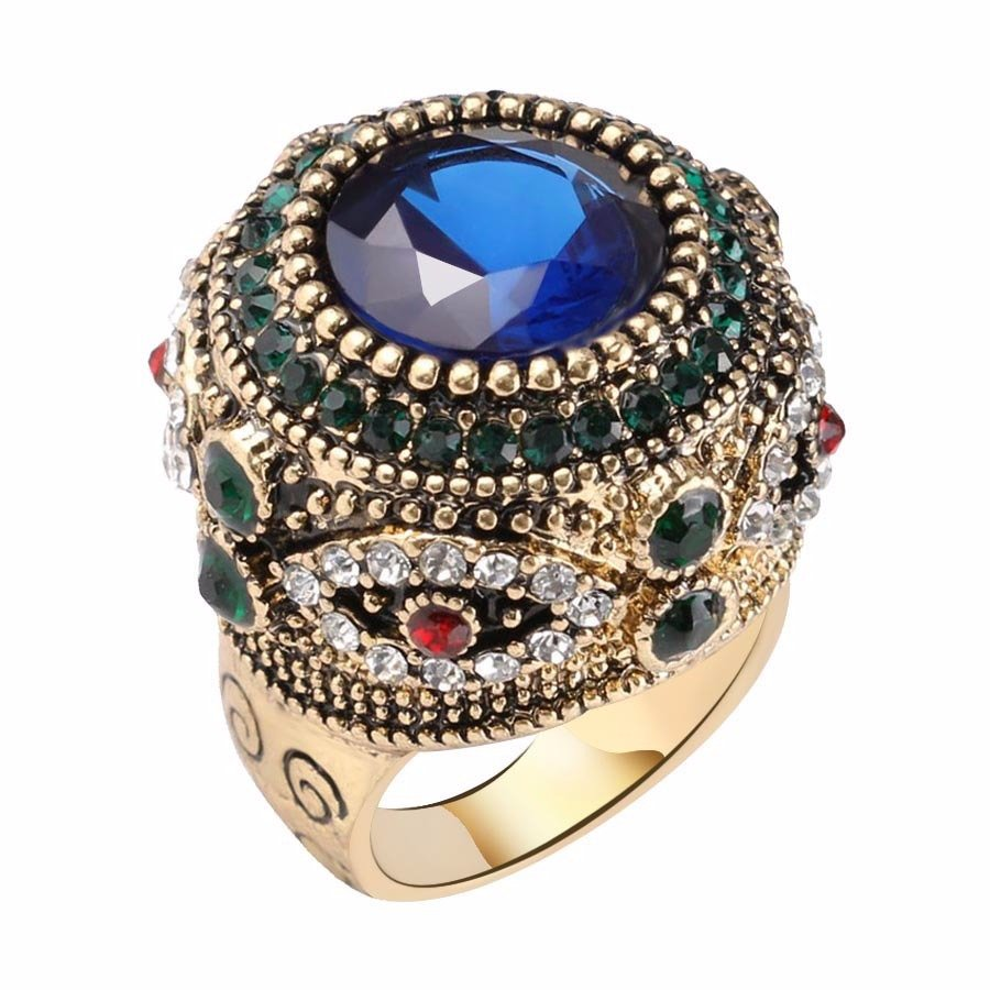 Bohemian Finger Rings Blue Rhinestone Gold Plated Round Geometric Rings Ethnic Jewelry for Women