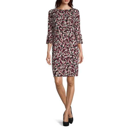 Liz Claiborne 3/4 Sleeve Plaid Sheath Dress, Xx-large , Pink