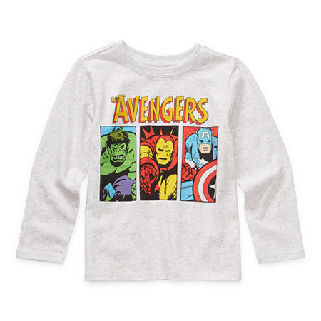 Okie Dokie Toddler Boys Crew Neck Avengers Long Sleeve Graphic T-Shirt, 4t , White