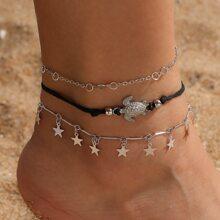 3pcs Star Charm Anklet