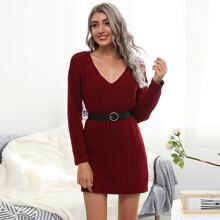 Drop Shoulder Rib-knit Sweater Dress Without Belt