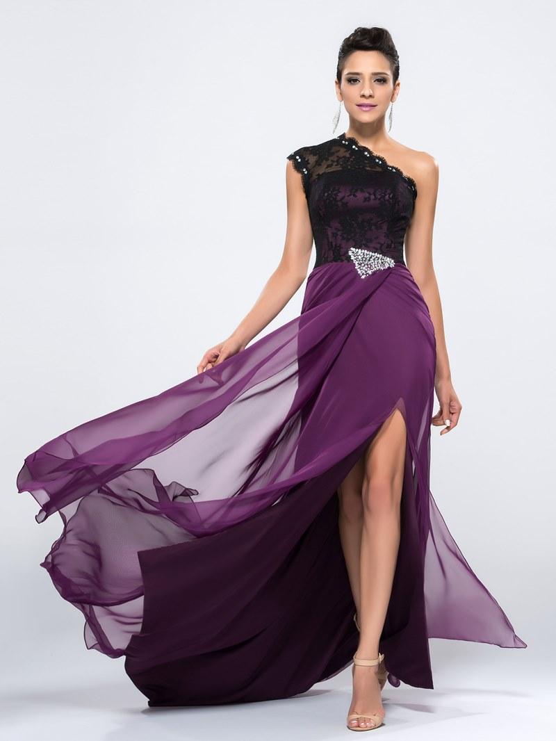 Charming One Shoulder Beading Lace Split-Front Evening Dress
