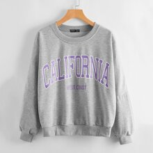 Letter Graphic Heather Gray Pullover