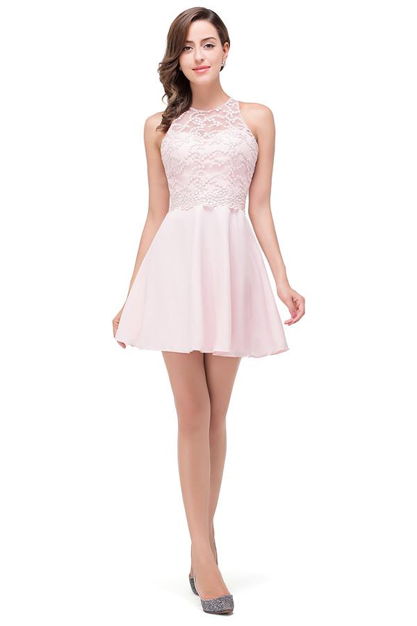 HARMONI | Cute A-line Crew Mini Bridesmaid Dresses With Applique