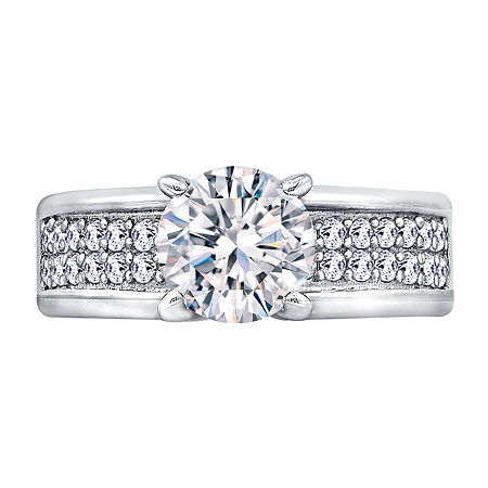 Womens 2 3/4 CT. T.W. Cubic Zirconia Sterling Silver Round Engagement Ring, 9 , No Color Family