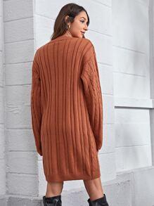 Drop Shoulder Cable Knit Sweater Dress Without Belt