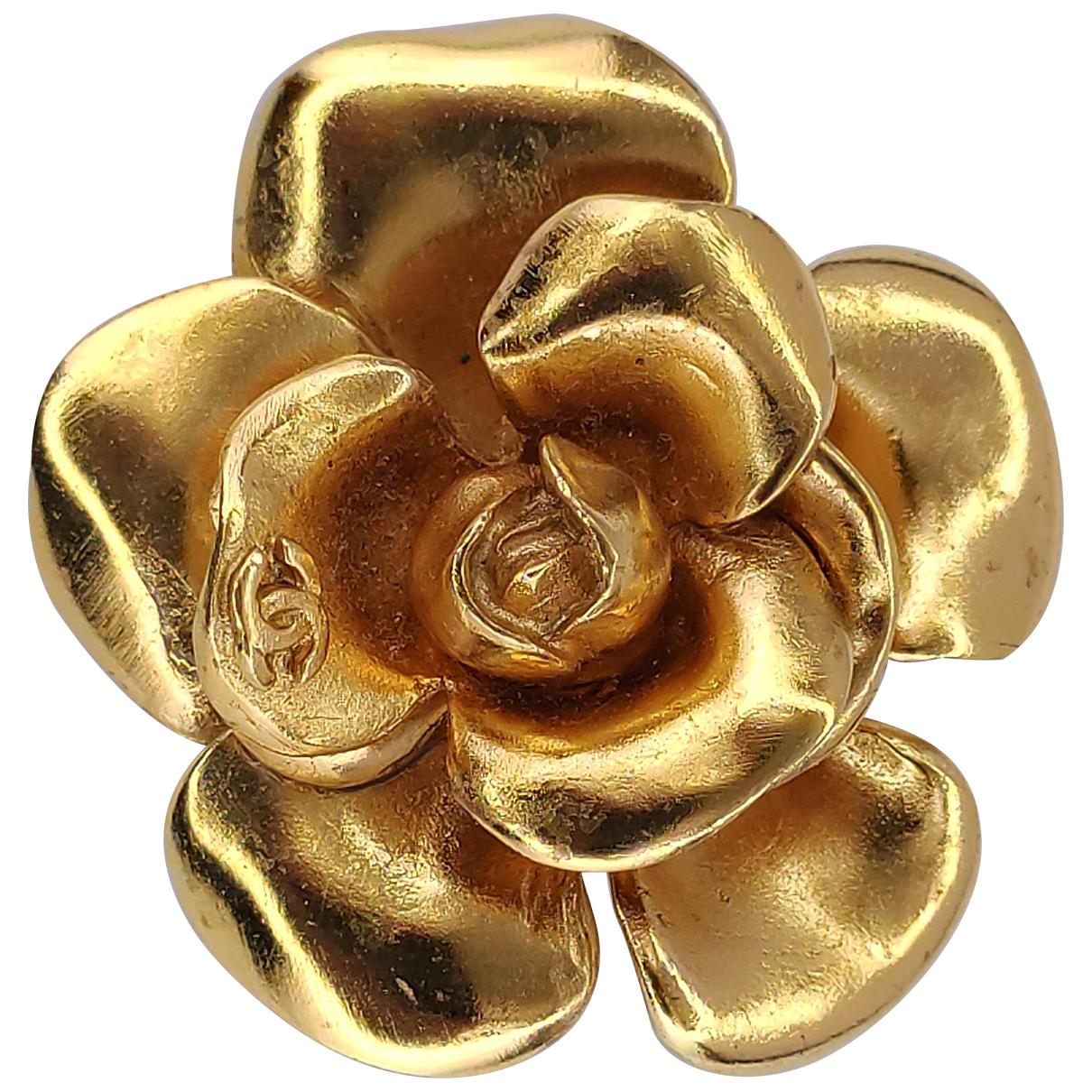 Chanel - Broche Camelia pour femme en metal - dore