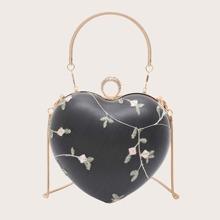 Heart Shaped Chain Satchel Bag
