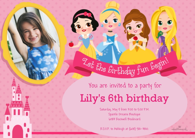 Kids Birthday Party Invites 5x7 Cards, Premium Cardstock 120lb with Rounded Corners, Card & Stationery -Disney Princess Birthday Fun