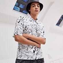Men Skull & Letter Graphic Polo Shirt
