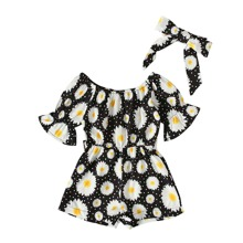Toddler Girls Floral & Polka Dot Romper With Headband