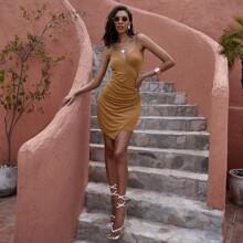 Figurbetontes Kleid mit Ruesche, asymmetrischem Saum und Wickel Design am Saum