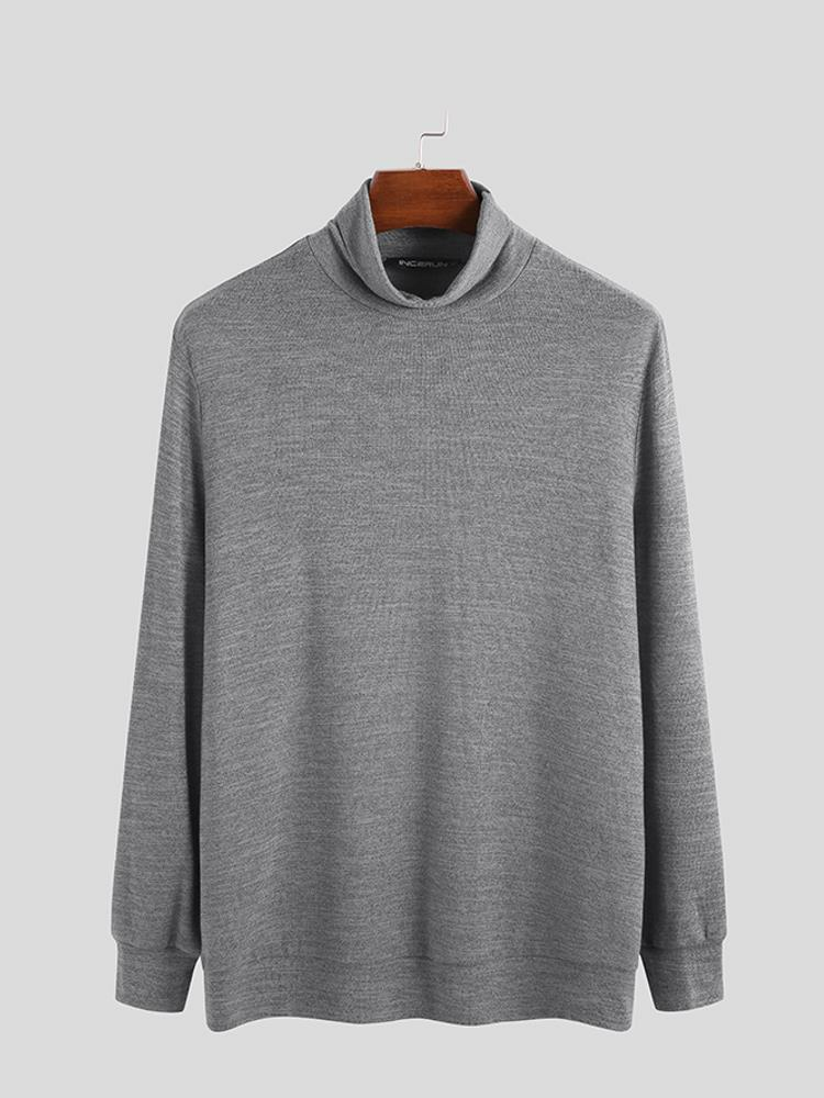 Mens Brief Style Solid Color High Collar Sweaters