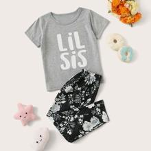 Toddler Girls Letter & Floral Print PJ Set