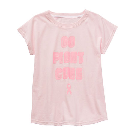 Xersion Little & Big Girls Round Neck Short Sleeve Graphic T-Shirt, Large (14.5/16.5) Plus , Pink