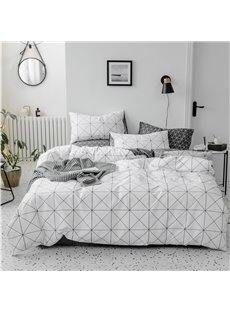 White Check Pattern Double-sided Simple Style 4-Piece Cotton Bedding Sets/Duvet Covers