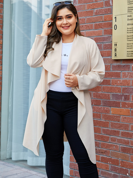 YOINS Plus Size Beige Belt Design Lapel Collar Coat