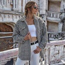 Tweed Mantel mit Hahnentritt Muster, Knopfen und ungesaeumtem Saum