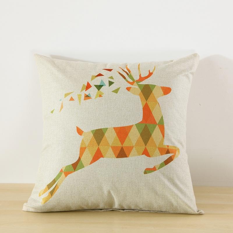 Geometric Deer Printed Decorative Square Throw Pillow for Sofa Bedroom Car