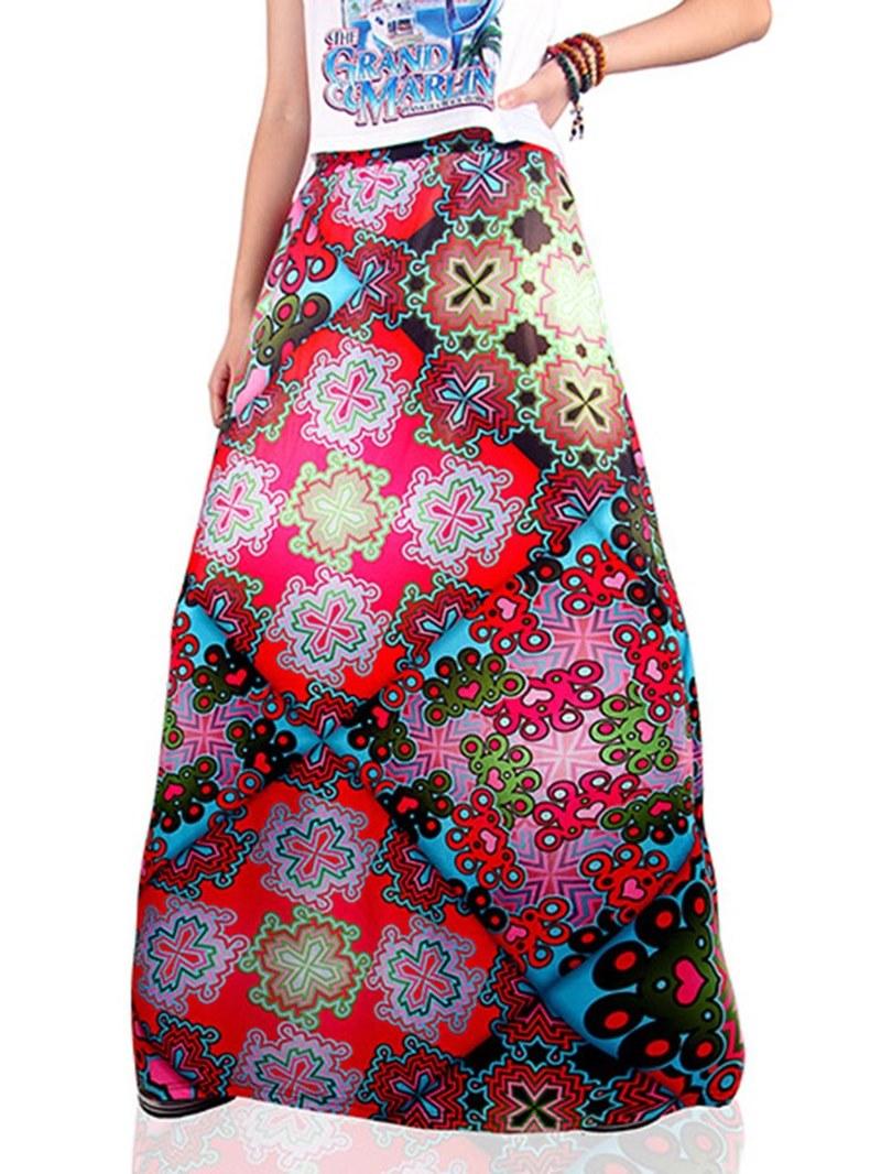 Ericdress Print Floral A-Line Womens Skirt
