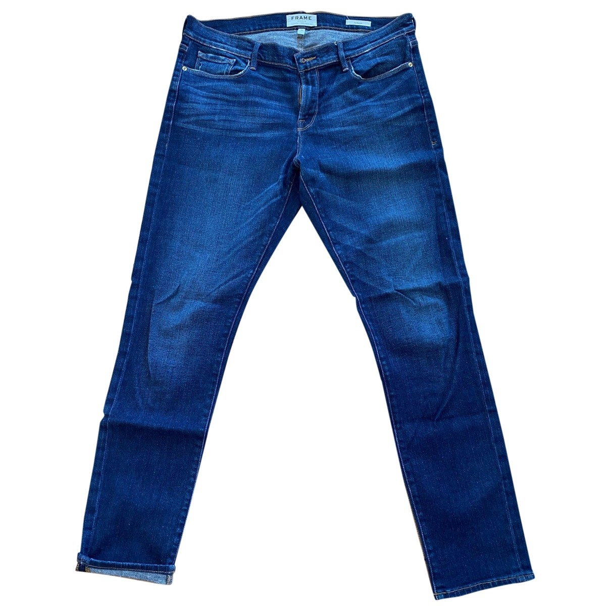 Frame Denim \N Blue Cotton - elasthane Jeans for Women 30 US