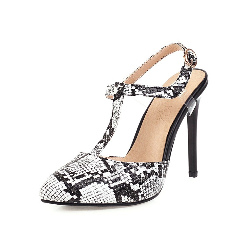 Ericdress Pointed Toe T-Shaped Buckle Stiletto Heel Casual Sandals