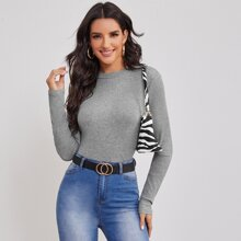 Solid Rib-knit Fitted Top