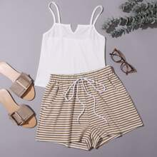 Solid Cami Top With Stripe Print Shorts