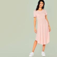 Striped Curved Hem Fit & Flare Dress